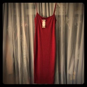 Boohoo ribbed dress Maroon